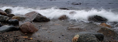 Beach (Ib Aarmo) Tags: sea beach nature water waves outdoor stones wave spray fjord