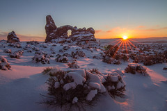 Passage (East Wind) Tags: winter sunset snow clouds landscape utah nationalpark arches moab sunburst archesnationalpark turret turretarch