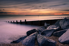 Behind The Rocks - Take 2 (Sunset Snapper) Tags: uk longexposure winter sunset seascape cold sand nikon rocks post shingle haylingisland hampshire lee nd february filters grad southcoast groyne 2016 2470mm sandypoint d810 sunsetsnapper littlestopper behindtherockstake2
