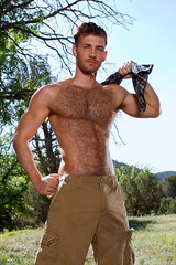 1117 (rrttrrtt555) Tags: trees red hairy armpit muscles grass shirt hair beard outdoors ginger eyes play arms pants masculine chest ripped cargo redhead attitude shoulders mustache flex plaid stubble