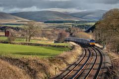 Curved Ball (whosoever2) Tags: uk greatbritain railroad winter mountains train landscape scotland nikon unitedkingdom railway tesco gb dumfriesgalloway class66 intermodal drs directrailservices 66425 66427 kirkconnel d7100 4s43 tescoliner