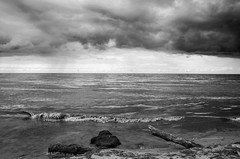 Incoming DSL4681 (iloleo) Tags: bw toronto storm nature clouds landscape waves shoreline scenic lakeontario scarboroughbluffs nikond7000
