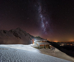 Into the night... (George Pancescu) Tags: nightphotography winter sky mountain snow cold nature night stars landscape nikon scenery europe view nightscape natural outdoor peak astro galaxy astrophotography romania chalet nightscene winterscape milkyway massif fagaras balea 1635mm d810 salvamont outstandingromanianphotographers