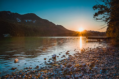 the sun sets (dastine) Tags: sunset sun lake mountains alps germany landscape bavaria europe weisensee fssen