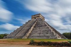 Chichen Itza's El Castillo (Insite Image) Tags: longexposure clouds landscape mexico ruins pyramid bluesky unescoworldheritagesite worldheritagesite chichenitza mayan elcastillo new7wondersoftheworld newsevenwondersoftheworld mesoamericanpyramid insiteimage
