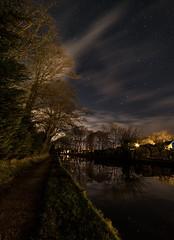 Night by the canal (chaotic river) Tags: light england sky reflection tree water grass night stars canal unitedkingdom path low gb minor tow ursa constellation 14mm samyang bilsborrow