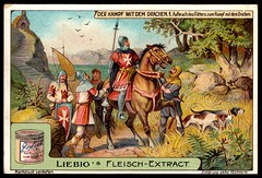 Liebig Tradecard S990 - The Fight With the Dragon (cigcardpix) Tags: vintage advertising ephemera liebig chromo tradecards