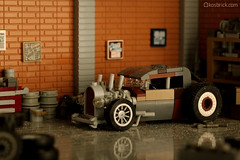 Hot Rod Exhaust (kosbrick) Tags: abandoned car lego garage hotrod exhaust moc npu paintroller ironbuilder