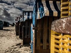 Waiting for guests . (@DinAFoto) Tags: blue sea sky beach nature water yellow clouds strand landscape chairs himmel gelb blau kontrast nordsee kste strandkrbe northsee niedersachsen bensersiel