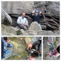 Post climb pose.. (Mike-Lee) Tags: birthday mike rock collage grit climb picasa rope climbing lead gareth belay stanageedge 60yearsold 22ndmarch yearofbirthdaysilliness