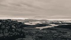 Iceland (SpechtPhotodesign) Tags: bw mountains west water clouds sunrise landscape island blackwhite iceland view vista sw landschaft sonnenaufgang overview wolkig
