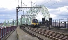 The Two River Mersey Bridges!! (8A.Rail) Tags: runcorn widnes 1f39 londonmidland 350243 britanniarailwaybridge