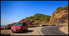 Red Car, Greenery and Blue sky! (Chinmay Avachat Photography) Tags: wagonr suzuki redcar car automobile gaganbavdaghat gaganbavda ghat greatdrive drive canyon road konkan maharashtra india pune photographerpune malvan sindhudurg slr canon t5i rebel 700d photography chinmayavachatphotography cap copyright allrightsreserved moments creative commons flickr flickriver explore best camera art lens photooftheday picoftheday beautiful composition potd pictureoftheday wow