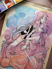 Two Roses - wip (The Girl with the Flaxen Hair) Tags: ink watercolor painting workinprogress fanart artshow inking drawingboard revolutionarygirlutena natiart utenaandanthy qpoprevolutionarygirlutena wipwipshot