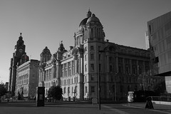 The Royal Liver Building and surrounding area (Chris Dimond) Tags: bw liverpool liverbirds liverbuilding royalliverbuilding 2015