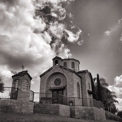 Heavenly (Johnny Worldadventurer) Tags: sky church cemetery clouds temple blackwhite losangeles heaven chapel bnw whittier rosehills rimoftheworld touchthesky