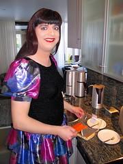 Paula's pastry (Paula Satijn) Tags: blue girl cake shiny dress silk skirt tgirl transvestite pastry satin miniskirt tompouce gulr