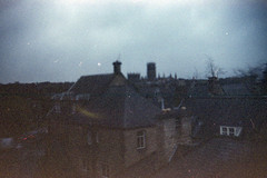 Durham Cathedral - distant view (pho-Tony) Tags: world film japan shop photography japanese iso200 day boots 1996 pinhole iso plastic 200 kit gadget expired wppd c41 tetenal worldpinholephotographyday gakkenpinhole