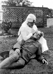 1919 est Selma Augusta Anna Schmidt dressed as nurse for fun (jim.harrington75) Tags: unitedstates michigan worldwari nurse pretending doughboy playacting selmaaugustaannaschmidt