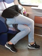 Deventer Train sleeping (GeRiviera) Tags: sleeping netherlands girl dutch train candid nederland deventer