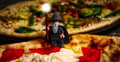 """""""You shall not have pizza!"""" (BrickSev) Tags: toy toys photography lego you earth pass indoor lord pizza lotr rings fantasy gandalf parody middle hobbit tabletop shall middleearth minifigure the minifigures toyphotography youshallnotpass legophotography legomiddleearth"""