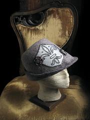 Fleur de Lis Cadet, front (chronographia) Tags: wool hat grey beads silk felt fleurdelis millinery filthylucre exoticshadesofgrey treebarkgrey strangehoursatelier curiousmillinery