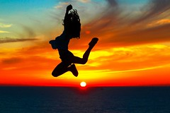 Freedom (Lior. L) Tags: sunset sea beach silhouette freedom jumping exercising