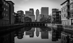 Reflections | Canary Wharf (James_Beard) Tags: longexposure bw london water architecture reflections blackwhite skyscrapers towers canarywharf modernarchitecture officeblocks londonskyline isleofdogs londonlandmarks ndfilters canon24105 canon6d 16stopnd