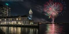Battery Park Fireworks (DSC04071) (Michael.Lee.Pics.NYC) Tags: longexposure newyork reflection night fireworks sony batterypark piera newyorkharbor a7rm2 zeissloxia21mmf28
