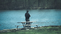 papoose lake. april 2016 (timp37) Tags: park lake man illinois fishing fisherman april palos papoose 2016