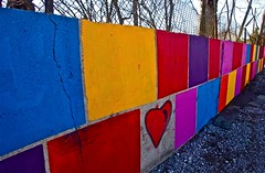 Color blocking (Dee Gee fifteen) Tags: fence colorful heart cracks concretewall colorblocking