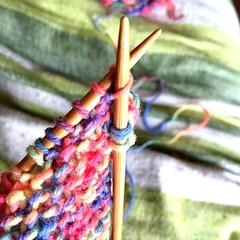 365Project - day 119/366 (jenwuk) Tags: wool rainbow knitting 365 needles mossstitch 365project