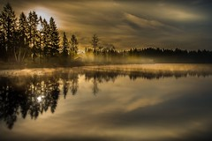 Getting Close To Late (jeanmarie (been working lots of overtime)) Tags: morning blue light sky sunlight white mist lake nature water colors fog clouds sunrise reflections landscape outdoors nikon serene waterscape jeanmarie cottagelake daarklands pastfeaturedwinner jeanmarieshelton