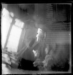 Victorian photograph of a double exposure of a woman in Fallston, Maryland (Remsberg Photos) Tags: windows blackandwhite woman usa abstract blur vintage blurry antique doubleexposure watching maryland historic creepy scanned ghostly peeking glassplate fallston harfordmd