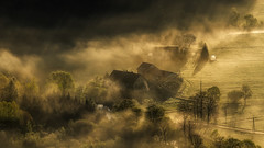 The Light it Changes Endlessly. (Bonnie And Clyde Creative Images) Tags: morning mist canon landscape poland valley