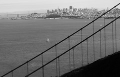 The City by the Bay (Rob Shenk) Tags: ocean sanfrancisco california city bridge blackandwhite water bay blackwhite pacific marin engineering goldengate