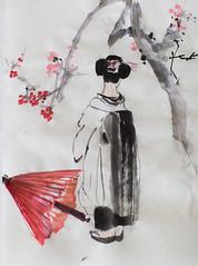 geiko-san by Yulia Lisitsa and Ransui Yakata (yulialisitsaphoto) Tags: japan ink cherry japanese tokyo blossom maiko geiko geisha sakura sumie inkpainting