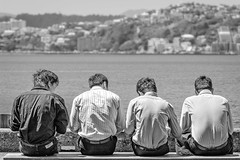 4 boys on a bench (dave.fergy) Tags: people blackandwhite food abstract men monochrome hair landscape lunch mono pattern harbour head leisure nik bodypart adobeps on1pics