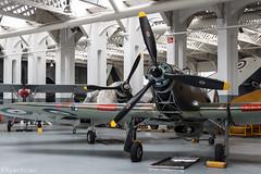 Hawker Hurricane & Supermarine Spitfire (Ryan Arran) Tags: 3 aircraft hurricane hangar static duxford spitfire fury hawker ghuri gmkvb bm597 p3700
