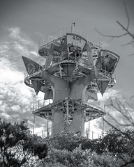 Abandoned Radio Tower (Black and White) (Kevin MG) Tags: ca old blackandwhite bw usa streetart art abandoned monochrome graffiti blackwhite losangeles grafitti hiking malibu forgotten forsaken radiotower