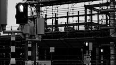 Three little men (Digital Adrian) Tags: light red blackandwhite bw white black netherlands monochrome sign digital pen lens four prime construction crossing cross traffic walk wide pedestrian mini olympus screen 45 dont stop e micro pro dxo format 18 169 zuiko thirds optics mft pm1 microft