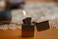 Golden Flip Zippo Lighter (AceShoeLace) Tags: fire golden open flip lighter zippo firing flipping