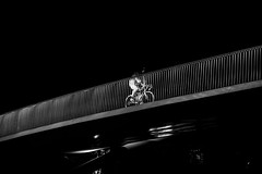 Cycling Up (Jan Jespersen) Tags: street city bridge urban blackandwhite bw night copenhagen denmark darkness citylife streetphotography streetphoto kbenhavn urbanscenes blackandwhitephotography urbanlife nightscenes urbanscene canon6d janjespersenphotography