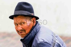Portrait Of An Old Indigenous Man (kalypsoworldphotography) Tags: santa street old city portrait people woman white black heritage southamerica senior face look hat rural clothing ecuador sad skin grandmother outdoor mark traditional feather culture streetphotography human national elderly age latin elder andes editorial lonely sickness retired citizen impressive equator indigenous andean retiree diseases pensioner banosdeagua biologicalstage