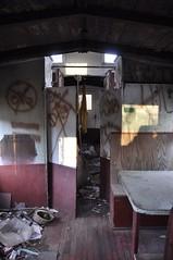 Reynoldsburg, Ohio (6 of 8) (Bob McGilvray Jr.) Tags: wood railroad ohio red abandoned rotting train wooden tracks caboose cupola oh bo abused trashed reynoldsburg baltimoreohio c2208