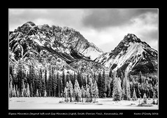 Elpoca Mountain (beyond left) and Gap Mountain (right) from highway 742 / Smith-Dorrien Trail, Kananaskis Country, Alberta (kgogrady) Tags: trees winter blackandwhite bw snow canada mountains landscape rockies blackwhite nikon afternoon rocky noone ab nopeople alberta infrared rockymountains nikkor dx smithdorrientrail kananaskiscountry canadianrockies 2016 westerncanada canadianmountains d80 gapmountain canadianlandscapes cans2s nikkor1870mmf3545gifed albertalandscapes elpocamountain highway742 picturesofalberta photosofalberta canadianrockieslanscape