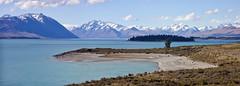 View of Mt Cook from Lake Pukaki roadside (opzjon) Tags: travel newzealand sky lake mountains glaciers mtcook lakepukaki pukaki glaciallake