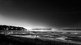 West Point Tidal Flats At Night