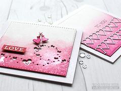 LOVE (RejoicingCrafts) Tags: pink love watercolor cards heart handmade valentine stamping papercrafts blending cardmaking simonsaysstamp