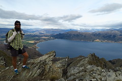 Looking out over Lake Hawea. Lake Wanaka in the distance.